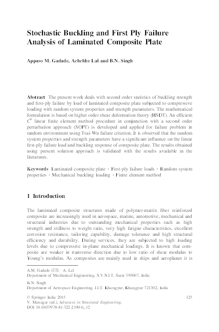 Stochastic Buckling and First Ply Failure Analysis of Laminated