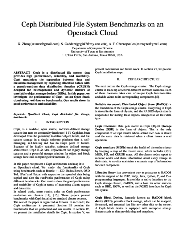 PDF) Ceph Distributed File System Benchmarks on an Openstack