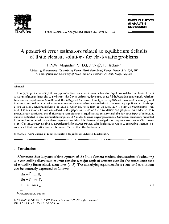 PDF) A posteriori error estimators related to equilibrium