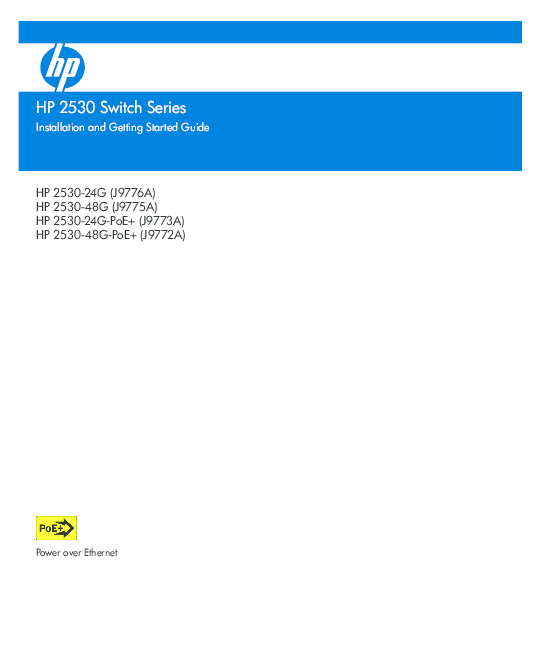 HP 2530 Switch Series Installation and Getting Started Guide