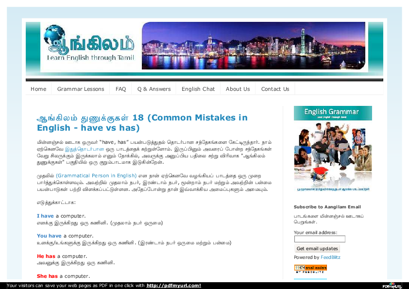 PDF) ஆங்கிலம் - Learn English grammar through Tamil