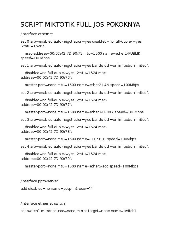 DOC) script mikrotik | Rohim rohimah - Academia edu