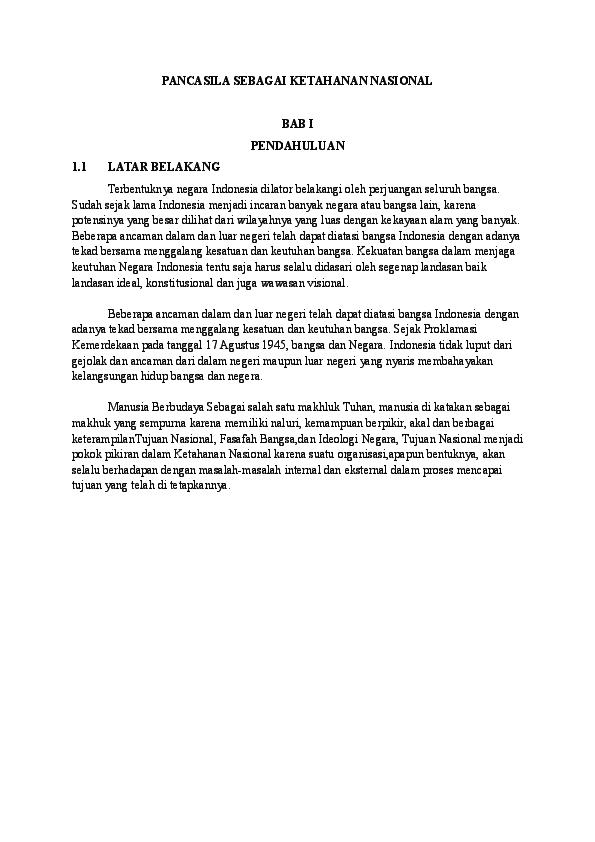 Doc Pancasila Sebagai Ketahanan Nasional Iis Dahyanti Academia Edu