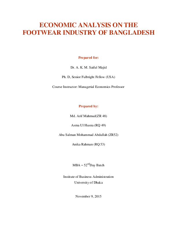 PDF) ECONOMIC ANALYSIS ON THE FOOTWEAR INDUSTRY IN