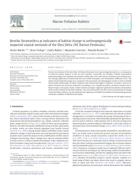 3f88497ead64 PDF) Benthic foraminifera as indicators of habitat change in ...