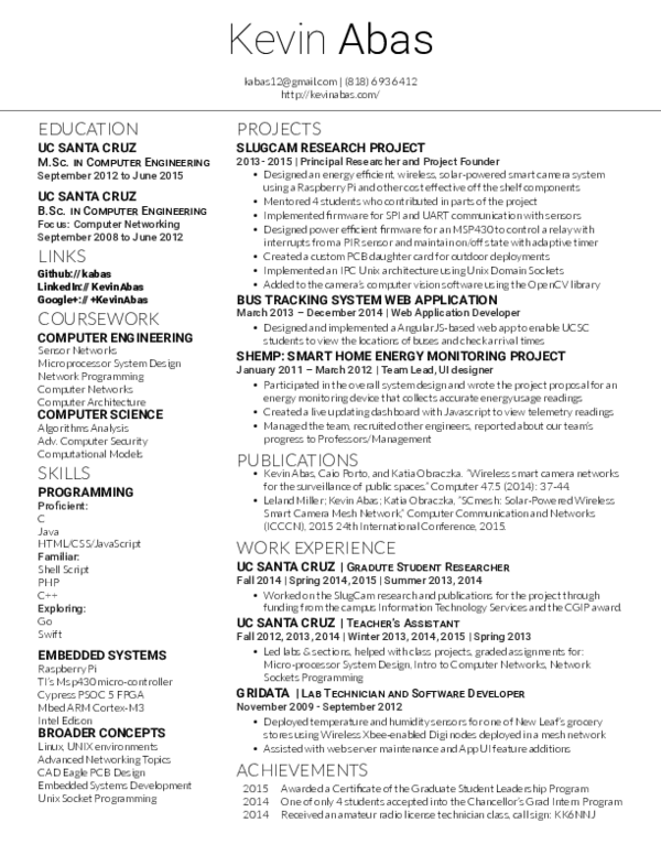 PDF) Kevin Abas Resume | PCB NPI - Academia edu