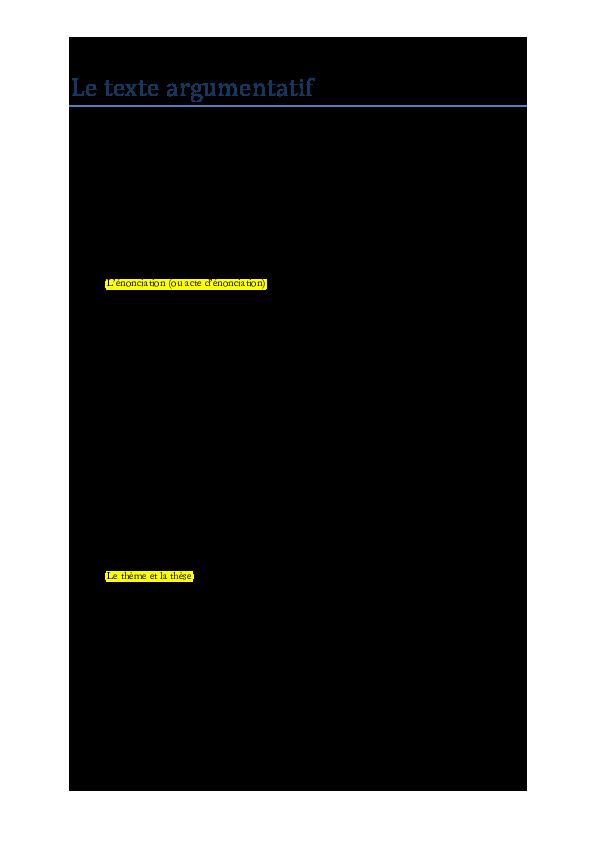 These Dun Texte Argumentatif - Titre De La Thèse