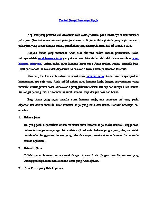 Pdf Contoh Surat Lamaran Kerja Dunia Q Academiaedu