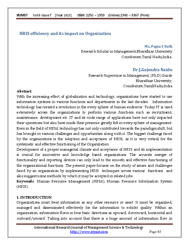 PDF) HRIS efficiency and its impact on Organization