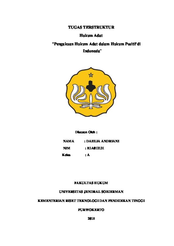Pdf Hukum Adat Makalah Dahlia Andriani Academia Edu