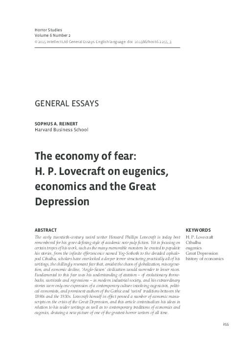 Essay Of Science Pdf Essays In Science also My Country Sri Lanka Essay English The Economy Of Fear Hp Lovecraft On Eugenics Economics And The  Persuasive Essay Ideas For High School