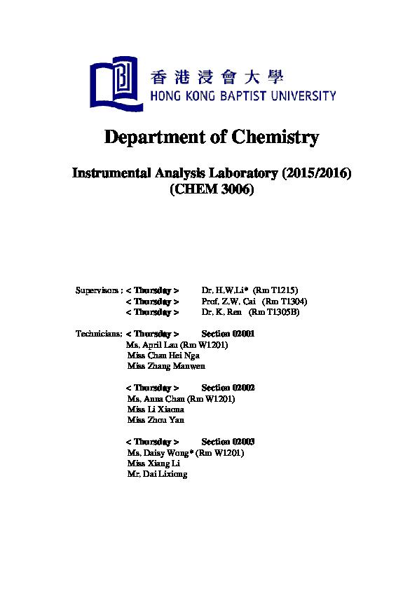 Instrumental Analysis Wai Li Lau Academia