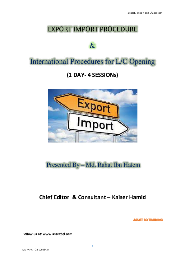 PDF) LC opening and Export Session   Md Rahat Ibn Hatem