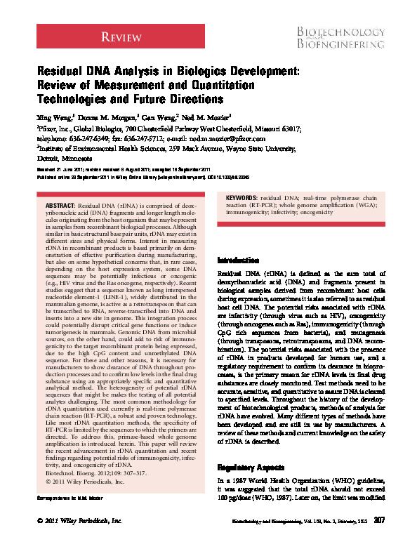 PDF) Residual DNA Analysis in biologics development: Review