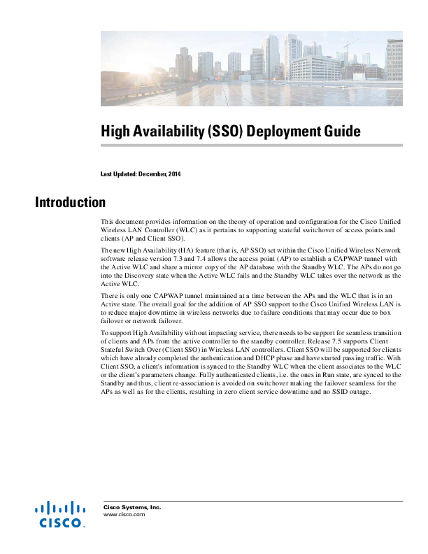 PDF) High Availability (SSO) Deployment Guide 5508 | Manuel Balboa