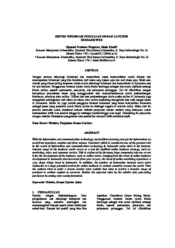 Pdf Jurnal Sistem Informasi Penjualan Berbasis Web Djustari