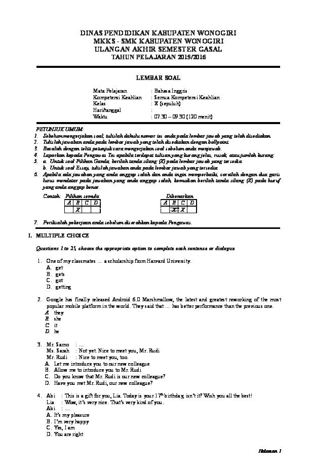 Doc Soal Ujian Akhir Semester Gasal Bahasa Inggris Kelas X Smk Vietrieannee D Prinsipessa Academia Edu