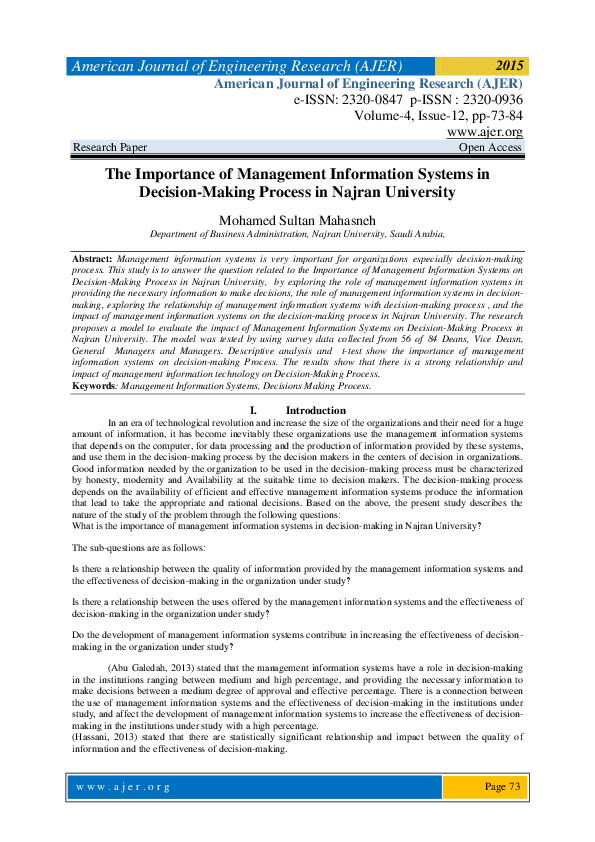 PDF) The Importance of Management Information Systems in Decision