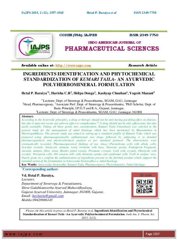 PDF) INGREDIENTS IDENTIFICATION AND PHYTOCHEMICAL STANDARDIZATION OF