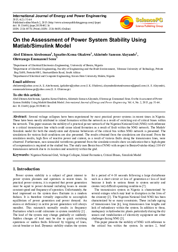 PDF) On the Assessment of Power System Stability Using