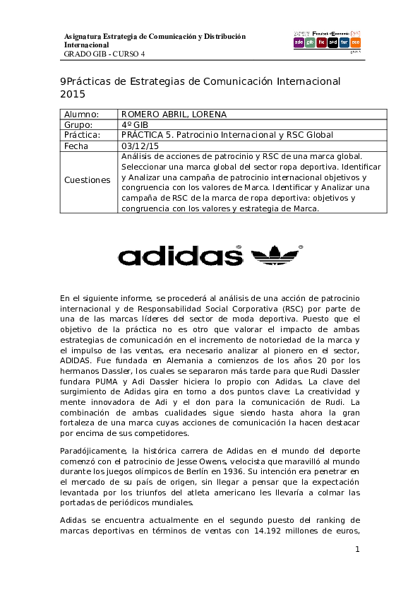 dilema Mejora Color de malva  Adidas Sponsorship and RSC Case Study | Lorena Romero Abril ...