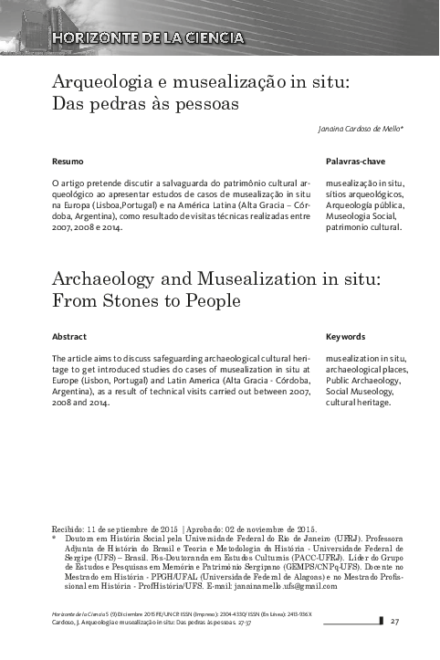 pdf) arqueologia e musealização in situ das pedras às pessoas15680 Artigos Sobre Cultura Brasileira #3