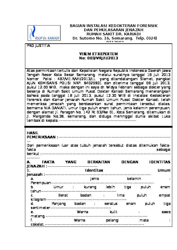 Doc 186695539 Contoh Visum Et Repertum Luka Tembak Joko