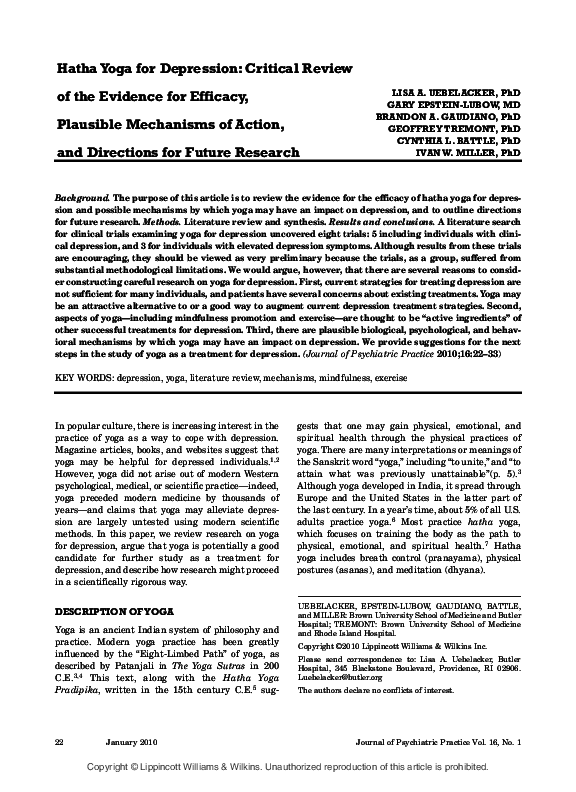 Pdf Hatha Yoga For Depression Critical Review Of The Evidence For Efficacy Plausible Mechanisms Of Action And Directions For Future Research Brandon Gaudiano And Gary Epstein Lubow Academia Edu