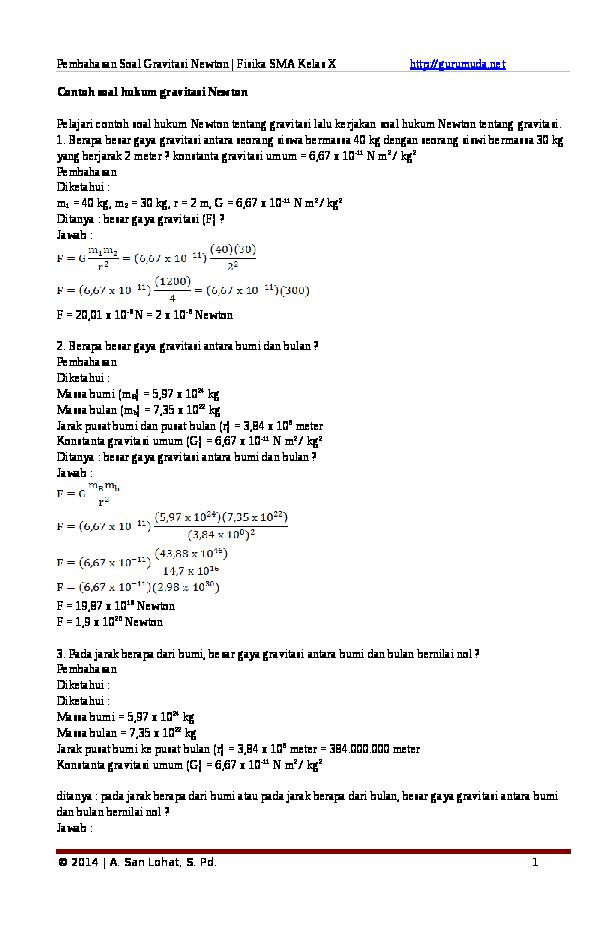 Contoh Soal Fisika Gaya Gravitasi Newton
