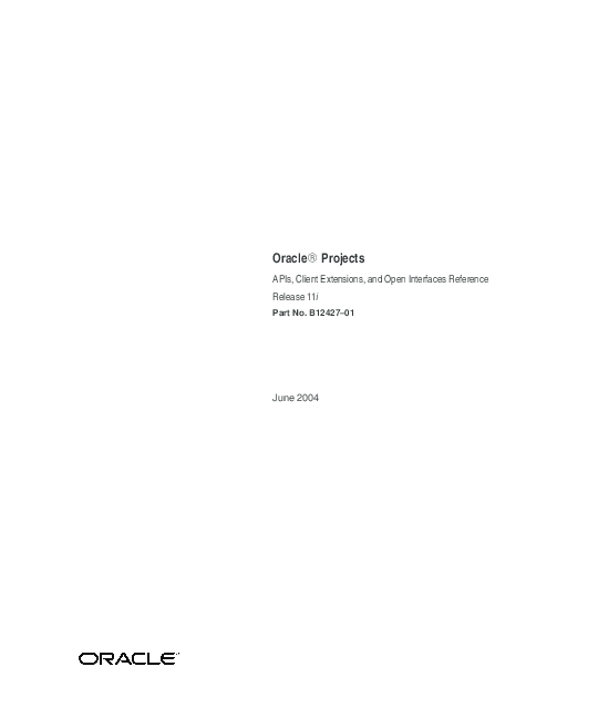 PDF) Oracle Projects APIs, Client Extensions, and Open Interfaces