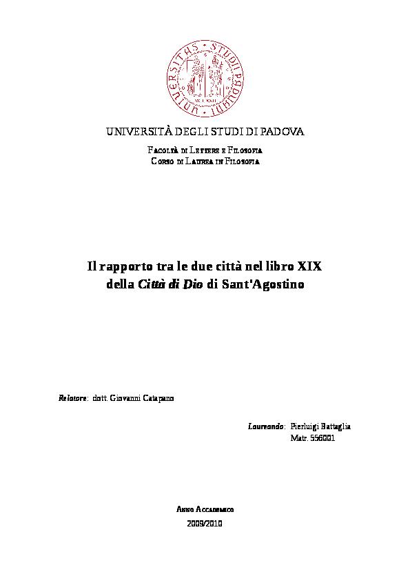 Il Rapporto Tra Le Due Città Nel Libro Xix Della Città Di Dio Di
