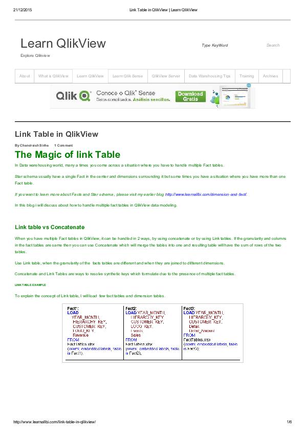PDF) Link Table in Qlik View Learn Qlik View | Adriana