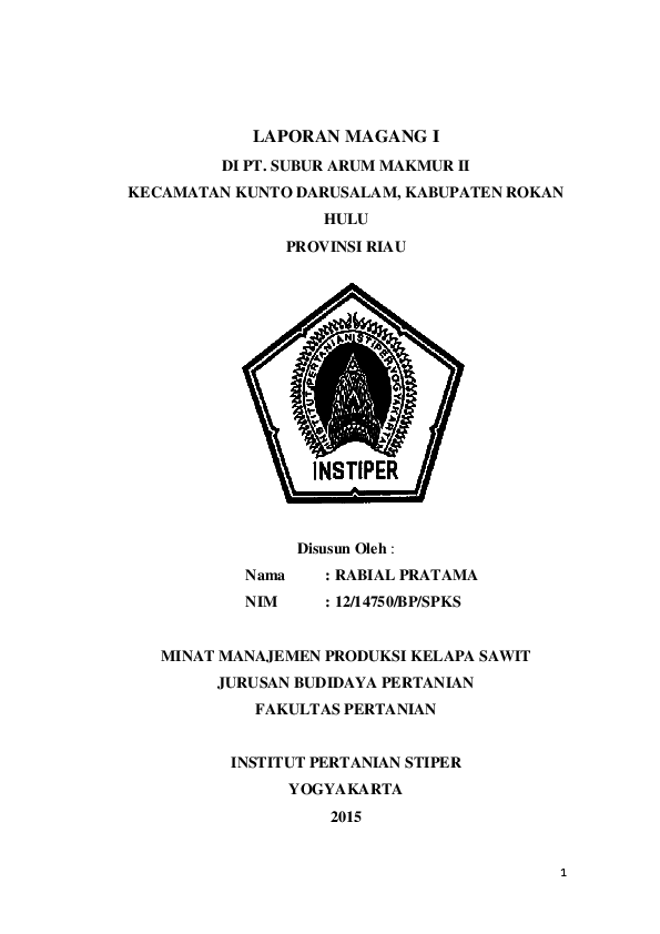Pdf Laporan Magang Kebun Rabial Pratama Academia Edu