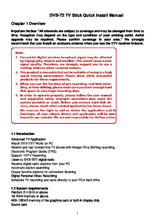 PDF) DVB T2 TV Stick Quick install Manual | Aji setiyoko - Academia edu