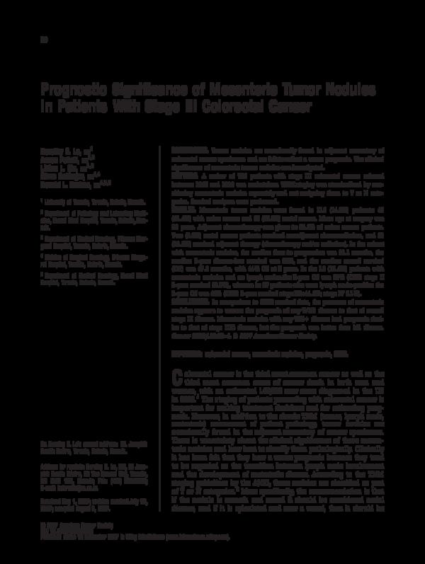 PDF) Prognostic significance of mesenteric tumor nodules in patients