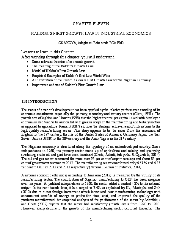 KALDORS FIRST GROWTH LAW IN INDUSTRIAL ECONOMICS