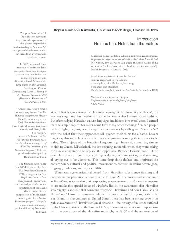 PDF) Sustaining Hawaiian Sovereignty, special issue of