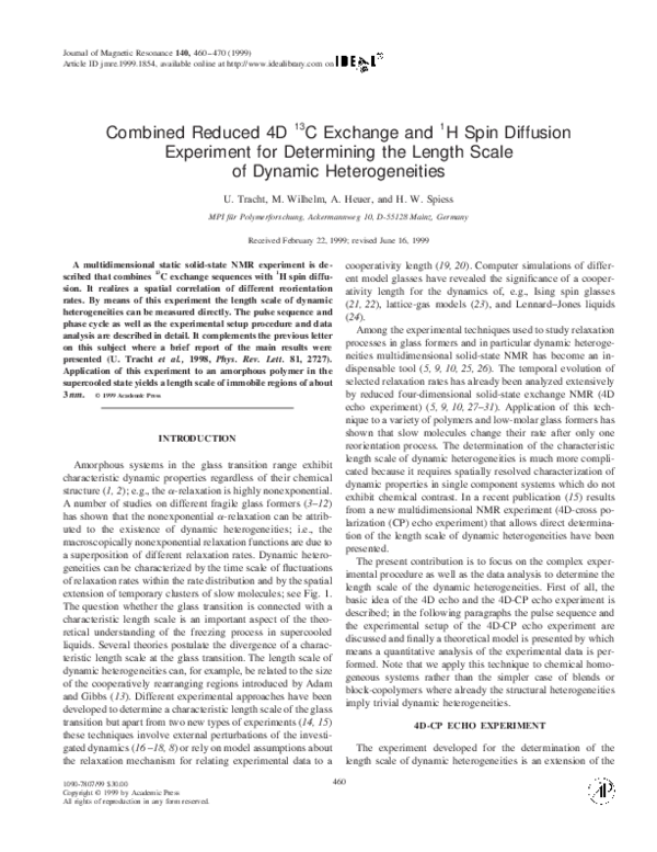 PDF) Combined Reduced 4D 13C Exchange and 1H Spin Diffusion