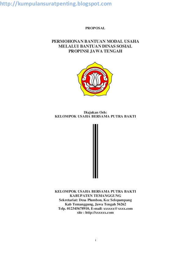 Contoh Proposal Bantuan Dana Usaha Kecil Perorangan Pdf Barisan Contoh