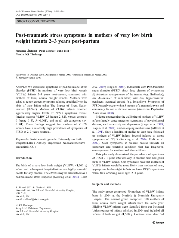 PDF) Post-traumatic stress symptoms in mothers of very low