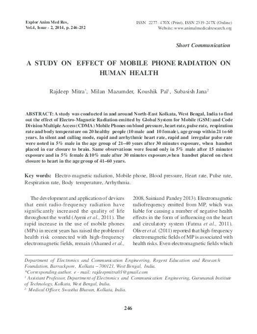 PDF) A STUDY ON EFFECT OF MOBILE PHONE RADIATION ON HUMAN HEALTH