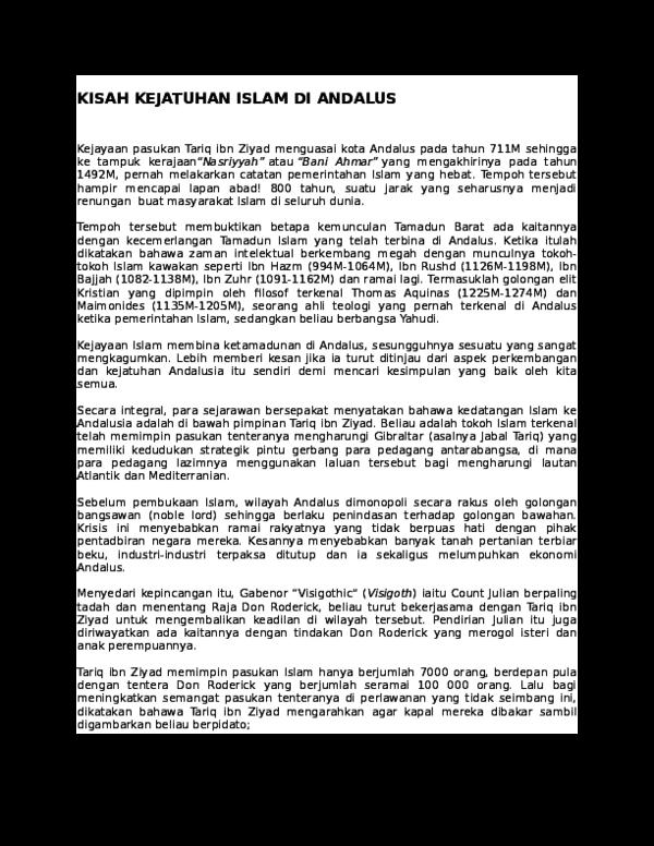 Doc Kisah Kejatuhan Islam Di Andalus Nur Aisyah Academia Edu