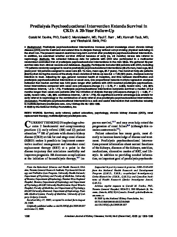 PDF) Predialysis Psychoeducational Intervention Extends
