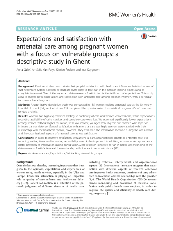 PDF) Expectations and satisfaction with antenatal care among