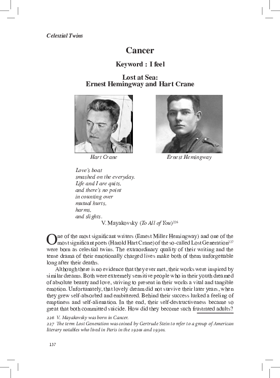 PDF) Lost at Sea: Ernest Hemingway and Hart Crane  From