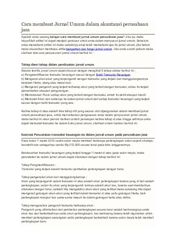 Doc Cara Membuat Jurnal Umum Dalam Akuntansi Perusahaan Jasa Fazri Wira Academia Edu