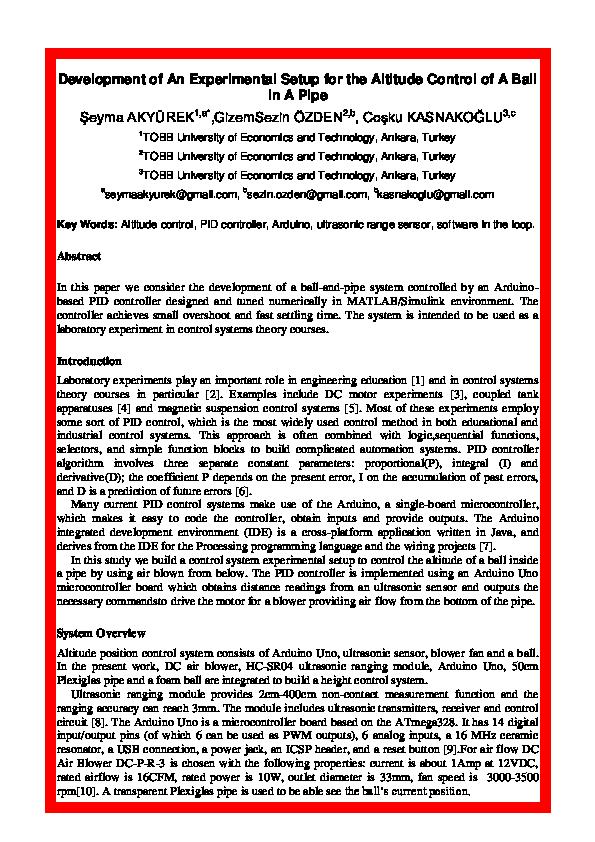 PDF) Development of an Experimental Setup for the Altitude Control