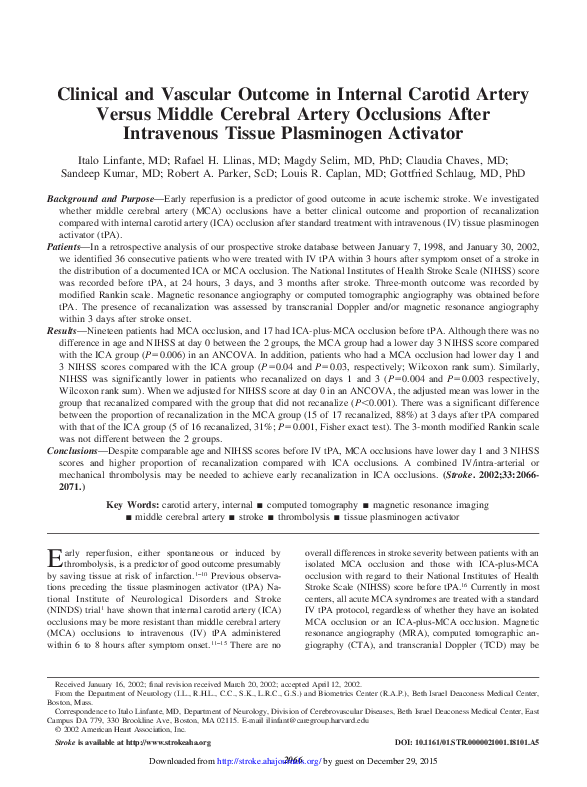 PDF) Clinical and Vascular Outcome in Internal Carotid