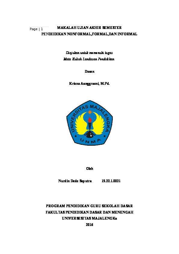 Doc Pendidikan Informal Formal Nonformal Nurdin Dede Saputra Academia Edu