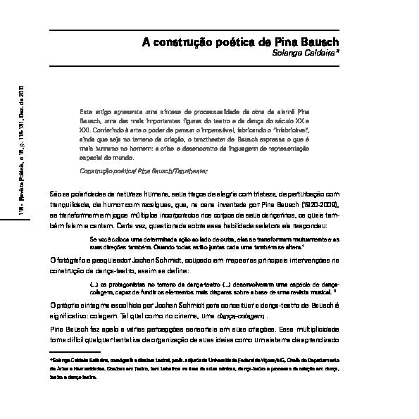 Pdf A Construcao Poetica De Pina Bausch Solange Caldeira